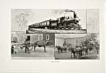 Frontispiece of brochure of the Coast Railway, 1897, showing photographs of three stages in transportation evolution: the horse and cart, the stagecoach and the train