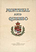Brochure of the Grand Trunk Railway, 1908, reading MONTREAL AND QUEBEC and showing a coat of arms