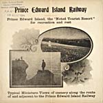Photographs from brochure of the Prince Edward Island Railway, 1905, showing people on a cliff and a woman in a field