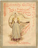 Brochure of the Windsor &  Annapolis Railway, 189?, [front], reading ILLUSTRATED GUIDE TO LAND OF EVANGELINE ROUTE, with coloured illustration of an Acadian woman