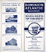 Brochure of the Dominion Atlantic Railway, 1934, advertising the LAND OF EVANGELINE ROUTE, with photographs of four Nova Scotia hotels