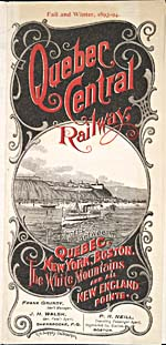 Brochure of the Quebec Central Railway, 1893-1894, with an illustration of boats on the St. Lawrence
