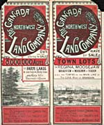 Brochure of the Canada North-West Land Company (Limited), c. 1890, [front], offering farmland for sale in southern Manitoba and the Northwest Territories and town lots in Regina and Moose Jaw