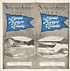 Brochure of the Niagara Gorge Railway, 1901, with photographs of a railway bridge over a swift-flowing Niagara River