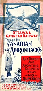 Brochure of the Ottawa & Gatineau Railway, 1901, advertising the region to tourists, with a photograph of tracks and a drawing of a fish