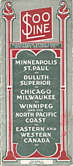 Brochure of the Minneapolis, St. Paul & Sault Ste. Marie Railway, 1925, reading SOO LINE