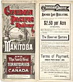 Brochure of the Canadian Pacific Railway, 1883, advertising train travel and land for sale in Manitoba and the Northwest Territories
