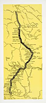 Map from brochure of the Pacific Great Eastern Railway, 1944, showing the route from Vancouver to Prince George, not completely finished