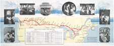 Map from brochure of the Canadian Pacific Railway, 1926, showing the transcontinental route, with several photographs