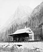 Photograph of Rogers Pass Station; Mount Macdonald can be seen in the background
