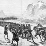 Illustration of troops marching over the ice at Nepigon Bay, Lake Superior