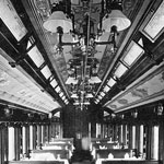 Photograph of the interior of a dining car on the Grand Trunk Railway, 1893
