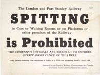 On-board sign, London & Port Stanley Railway, n.d., reading SPITTING IS PROHIBITED
