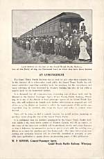 Announcement from the Grand Trunk Pacific Railway telling land seekers that they may contact the railway to get information about land along the railway line