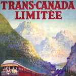 Poster from the Canadian Pacific Railway with a scenic illustration of a train travelling through the mountains