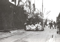 Photograph of silk bales, in a large net, on the dock beside a ship