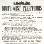 Poster advertising the train rates for travelling west and explaining the method of travel for each section of the route