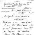 Telegram from Father Lacombe assuring Prime Minister Macdonald of Crowfoot's loyalty, March 30, 1885