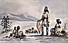 Watercolour showing four Mi'kmaq resting during a winter voyage by snowshoe, by Millicent Mary Chaplin, 1839
