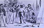 Croquis représentant des Métis en costume traditionnel en train de danser à Pembina, village sur le territoire du Manitoba actuel, vers 1859