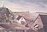 Aquarelle intitulée A VIEW OF THE CHÂTEAU RIVER, CAPE TORMENTS AND LOWER END OF THE ISLE OF ORLEANS NEAR QUEBEC, réalisée par Thomas Davies vers 1787, représentant une seigneurie près de Québec