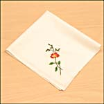 Photograph showing step 5 of how to make an embroidered handkerchief