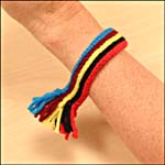 Photograph showing step 5 of how to make a sash bracelet