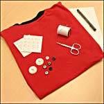 Photograph showing materials required for the button-decorated T-shirt