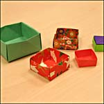 Photograph showing origami boxes