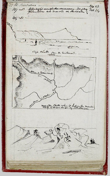 Page from William Logan's field notebook, featuring a map and sketches
