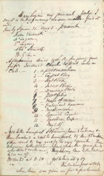 Page from one of William Logan's journals, written in London, England, that includes a list of things to take with him to Canada. He included himself on the list