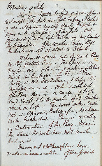 Page from William Logan's manuscript journal describing a coastal voyage
