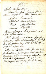 Page from William Logan's notebook including a list of his First Nations crew