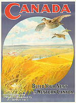 Poster entitled BUILD YOUR NEST IN WESTERN CANADA, 1904-1908