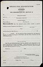 Example of a deportation notice and form, circa 1926
