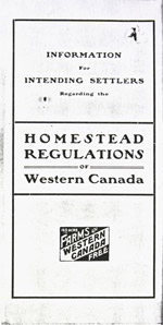 Pamphlet detailing homestead regulations for settlers, August 14, 1930