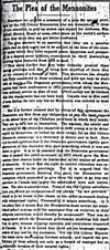 Newspaper article entitled THE PLEA OF THE MENNONITES published in the MANITOBA FREE PRESS, May 18, 1920