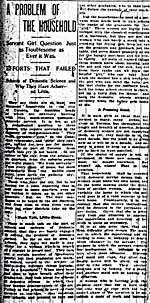 Newspaper article entitled A PROBLEM OF THE HOUSEHOLD, published in the TORONTO STAR, June 16, 1900