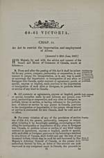 The ALIEN LABOUR ACT, 1897, (STATUTES OF CANADA)