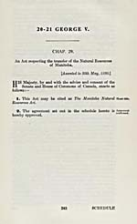 AN ACT RESPECTING THE TRANSFER OF THE NATURAL RESOURCES OF MANITOBA, 1930 (STATUTES OF CANADA)