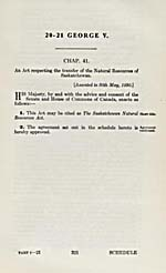 AN ACT RESPECTING THE TRANSFER OF THE NATURAL RESOURCES OF SASKATCHEWAN, 1930 (STATUTES OF CANADA)