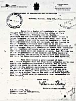 Letter from Thomas Gelley to A.L. Jolliffe, Commissioner of Immigration, July 9, 1931
