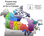 Map showing present-day locations of oil in Canada