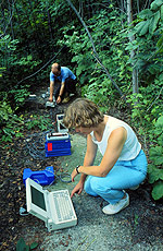 Photograph of two geologists testing seismographic field equipment in the woods