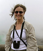 Photograph of Catherine Hickson at the Poas volcano, Costa Rica, 2004