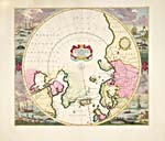 POLI ARCTICI ET CIRCUMIACENTIUM TERRARUM DESCRIPTIO NOVISSIMA (Most Recent Plan of the North Pole and Surroundings), by Frederick de Wit, 1715