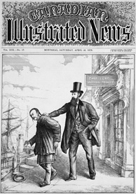 Cover of magazine with words, Canadian Illustrated News. Illustration shows Chinese man being forcefully directed to a ship by a tall white man in top hat.