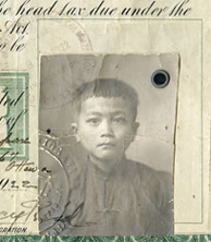 Certificate with photograph of ten-year-old boy affixed to bottom right-hand corner