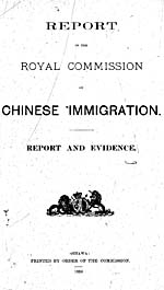 Report of the Royal Commission on Chinese Immigration