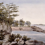 Watercolour of a view of trees and a house on a rocky beach as seen from across a bay